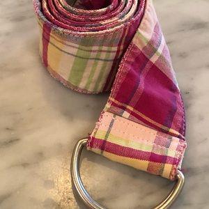 Madras pink D-ring belt